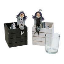 Puinen laatikko enkelillä 8cm x 8cm harmaa, valkoinen 2kpl