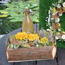 Puinen istutuslaatikko, kahvallinen kasviastia, kuorellinen kukkalaatikko 45,5cm