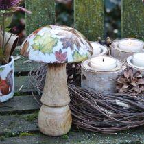 Puinen sieni koriste syksyn lehdet valkoinen, värikäs sieni pöydän koriste Ø10cm H15cm
