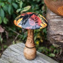 Puinen sieni Deco Värikäs lehtikuvio Syksyn koriste Musta, värikäs Ø13cm H19cm