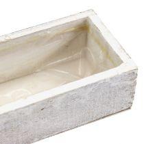Puinen kulho istutusta varten valkoinen 30cm x 9cm x 6cm