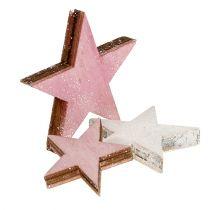 Puinen tähti 3-5cm vaaleanpunainen / valkoinen kimalluksella 24kpl