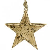 Tähti ripustettavaksi, puinen koriste kultaefektillä, Adventti 14cm × 14cm