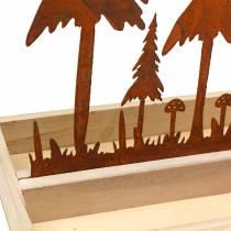 Puinen tarjotin, metsäsiluetti, arvokas ruoste, 30cm x 15cm