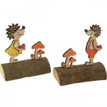 Siili ja sienet, syksyn hahmo, pari puisia siilejä keltainen/oranssi H11cm L10/10,5cm 2 kpl setti