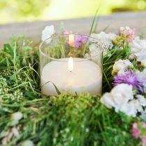 Kynttilän koriste LED-kynttilä lasissa aitoa vahaa valkoinen Ø10cm H13cm