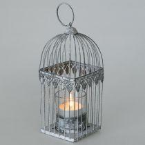 Kynttiläkoriste, linnunhäkki teekynttilälasilla, metallinen lyhty, hääkoriste, lyhty 22cm