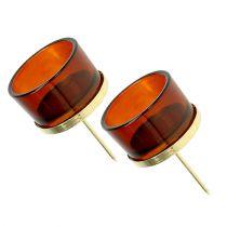 Kynttilänjalka lasikultaa, ruskea 4kpl