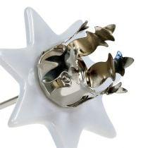 Kynttilänjalka tähti valkoinen-hopea Ø6cm 4kpl