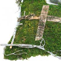 Tyyny sammalta ja viiniköynnöksiä ristin kanssa haudan järjestelyyn 25x25cm