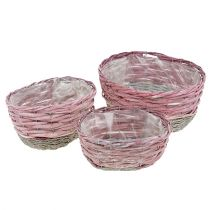 Soikea kori, 3 kpl vaaleanpunainen, luonnollinen