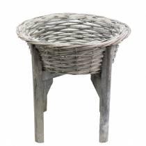 Kuppikulho, puinen jalusta harmaa, valkoinen pesty Ø33cm