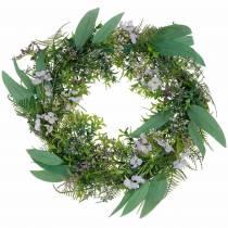 Koristeellinen seppele eukalyptus, saniainen, kukat Keinotekoinen seppele pöytäseppele