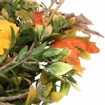 Syksyn lehtien seppele keinotekoisesti vihreä, keltainen, oranssi Ø45cm