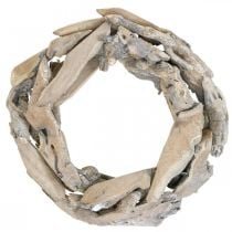 Puuseppele Juuripuu Valkoinen pesty deko seppele Ø30cm K8cm