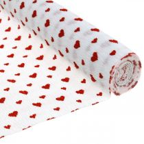 Kreppipaperi sydämillä Kukkakaupan kreppipaperi äitienpäivä punainen, valkoinen 50×250cm
