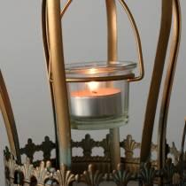 Koristeellinen kruunukynttilälyhty kulta Ø19cm K29cm