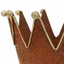 Koristeellinen potin kruunu patina kulta Ø13.5cm K11.5cm 2kpl