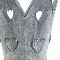 Sinkkipannun kruunu sydämet harmaa pesty Ø12 / 14cm