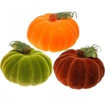 Koristeellinen kurpitsa Flocked Mix oranssi, vihreä, punainen syksyn koriste 16cm 3kpl 3kpl