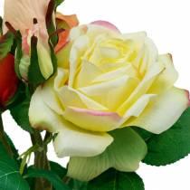Tekokukat, Keinotekoinen ruusut keltainen oranssi, ruusukimppu, Pöydän koristelu, Silkkikukat, Tekoruusut