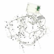 LED-valoketju helmi seppele hopea lämmin valkoinen L120cm