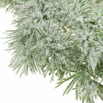 Lehtikuusi seppele kimalluksella ja lumella 160cm