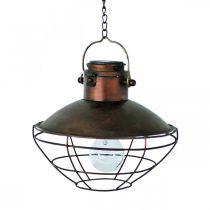 LED-riippuvalaisin, riippuvalaisin Rustic, aurinkokäyttöinen Ø24,5cm K24cm