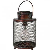 Metallinen lyhty, aurinkolamppu, LED, antiikkilook Ø13,5cm K28,5cm