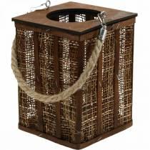 Lyhty punotulla kuviolla, kynttiläkoriste ripustettavaksi, puinen lyhty H41cm