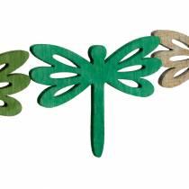 Sudenkorennot hajallaan, puinen kesäkoriste, pöydän koristelu vihreä 48kpl