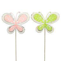 Metalliliitin perhonen vihreä, vaaleanpunainen 52cm 2kpl