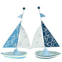 Koristeellinen purjevene metallisinistä, valkoinen 12,5 cm x 20,5 cm 2kpl