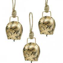 Kellot ripustettavaksi, mini lehmänkellot, maalaistalo, metallikellot Kultainen, antiikkilook 7×5cm 12kpl.