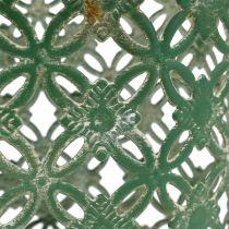 Metallinen kori soikea kahvalla 25cm x 16.5cm K21cm vihreä