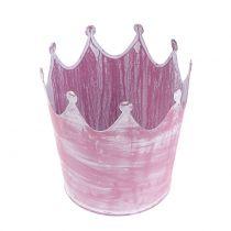 Metallinen kruunu vaaleanpunainen valkoinen pesty Ø10cm H9cm 6kpl