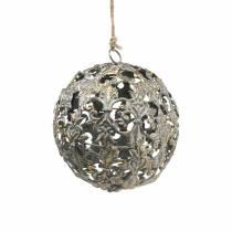 Pallo ripustettava koristeilla antiikki näyttää kultaista metallia Ø12cm