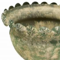 Koristeellinen kuppi, antiikki, metalli, sammalenvihreä, Ø13cm, H14,5cm