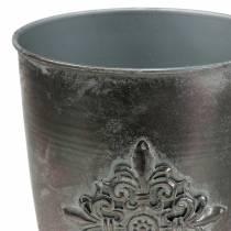 Koristeellinen metallikori, jossa koristeena hopeanharmaa Ø16.5cm K31cm