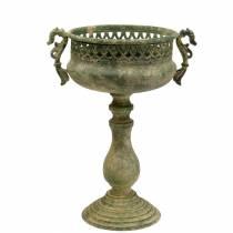 Koristeellinen kuppi, antiikki, metalli, sammalenvihreä, Ø19cm, K35.5cm