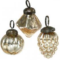Mini puupallot, timantti/pallo/kuutähti, puuhun ripustettava mix antiikkilook Ø3-3,5cm H4,5-5,5cm 9kpl.