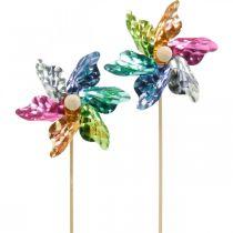 Mini tuulimylly, juhlakoriste, tuulimylly tikulla värikäs, koristelu puutarhaan, kukkatulppa Ø8,5cm 12kpl.