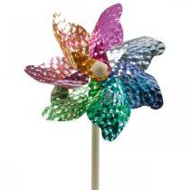Tuulimylly, kesäkoriste, tuulipyörä tikulla värikäs, koriste lasten syntymäpäiville Ø16cm 4kpl.