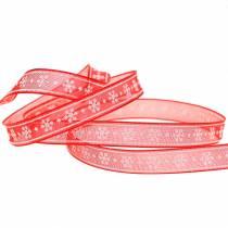 Organzanauha lumihiutale punaisella 10mm 20m