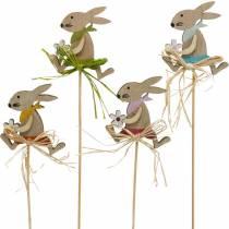 Pääsiäispupu kukalla, pupu koriste pääsiäiseksi, pupu tikulla, kevät, puinen koriste kukka tikku 12kpl