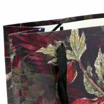 Lahjapussi kukat kulta 18cm x 8cm K24cm