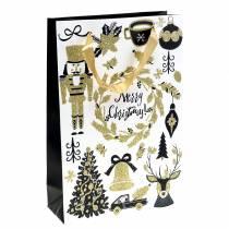 "Lahjapussi paperipussi ""Hyvää joulua"" kulta kimallus H30cm 2kpl"