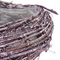 Kasvien sydän viiniköynnöksen karhunvatukka valkoisesta pesty 27cm x 24cm