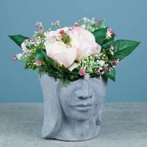 Kasvien pään rintakuva betonista harmaan H14,5 cm 2kpl istutusta varten
