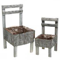 Tuolit istutukseen, istutin, puutarhakoriste Shabby Chic, Valkoinen pesty 2 kpl sarja